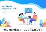 internet communication work... | Shutterstock .eps vector #1284135064