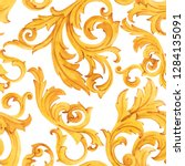 watercolor golden baroque... | Shutterstock . vector #1284135091