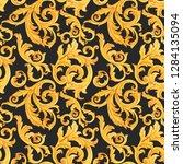 watercolor golden baroque... | Shutterstock . vector #1284135094