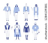 colorful flat line characters... | Shutterstock .eps vector #1284139381