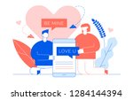 valentines day romantic people... | Shutterstock .eps vector #1284144394