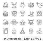 easter thin line icons set.... | Shutterstock .eps vector #1284167911