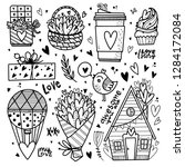 hand drawn love objects.... | Shutterstock .eps vector #1284172084