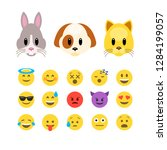Stock vector vector animals emoji emoticons dog and cat animoji characters flat design vector illustration 1284199057