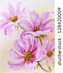 Cosmos Flowers  Oil Painting O...