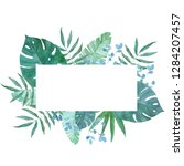frame made of exotic leaves... | Shutterstock . vector #1284207457