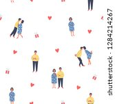 pattern with characters  hearts ...   Shutterstock .eps vector #1284214267