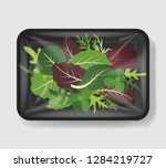 mix of salad leaves in plastic... | Shutterstock .eps vector #1284219727