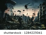 helicopter and forces in... | Shutterstock . vector #1284225061
