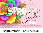 spring sale banner layout with... | Shutterstock .eps vector #1284231031