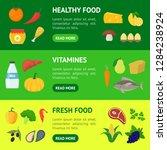 cartoon healthy food signs... | Shutterstock .eps vector #1284238924