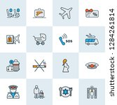 travel icons colored line set... | Shutterstock .eps vector #1284261814