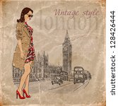 fashion girl in london.vector... | Shutterstock .eps vector #128426444