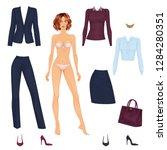 beautiful dress up female paper ... | Shutterstock .eps vector #1284280351