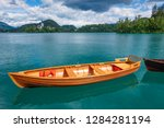 Wooden Rent Boat On A Bled Lak...