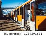 alpine swiss train at station... | Shutterstock . vector #1284291631