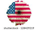 gerbera daisy flower in colors national flag of us on white background as concept and symbol of love, beauty, innocence, and positive emotions - stock photo