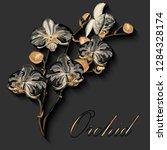 golden orchid flower watercolor.... | Shutterstock .eps vector #1284328174