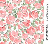 seamless pattern with red rose... | Shutterstock .eps vector #1284328177