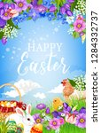 easter eggs  bunny  chicken and ... | Shutterstock .eps vector #1284332737