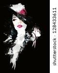 beautiful woman. hand painted... | Shutterstock . vector #128433611