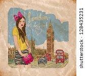 fashion girl in london.vector... | Shutterstock .eps vector #128435231