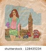 fashion girl in london.vector... | Shutterstock .eps vector #128435234