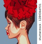 portrait of vintage girl 3d... | Shutterstock . vector #1284366931