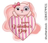 cat with heart to valentines... | Shutterstock .eps vector #1284379921