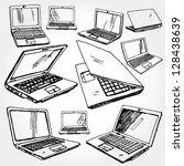illustration of laptop hand... | Shutterstock .eps vector #128438639