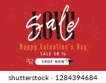 valentines day sale banner with ... | Shutterstock .eps vector #1284394684