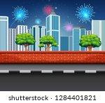 fireworks in celebration event...   Shutterstock .eps vector #1284401821