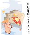 a cute pig and windy autumn day ... | Shutterstock .eps vector #1284403021