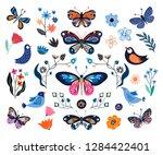 butterflies  birds and flowers  ... | Shutterstock .eps vector #1284422401