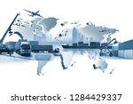 transportation  import export ... | Shutterstock . vector #1284429337