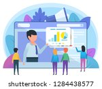 online learning  meeting ... | Shutterstock .eps vector #1284438577