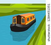 Editable Canal Boat At The...