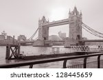 Tower Bridge and the River Thames, London in Black and White Sepia Tone - stock photo