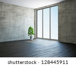 empty room with old wall and a... | Shutterstock . vector #128445911