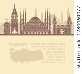pattern leaflets with a map of... | Shutterstock .eps vector #1284460477