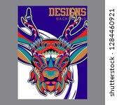 deer. wild deer. vintage... | Shutterstock .eps vector #1284460921