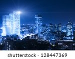 tel aviv skyline at night  ... | Shutterstock . vector #128447369