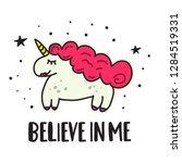 believe in me. cute unicorn... | Shutterstock .eps vector #1284519331