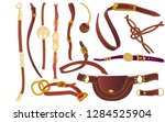 set of leather accessories. bag ...   Shutterstock .eps vector #1284525904