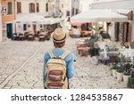 tourist girl walking in the... | Shutterstock . vector #1284535867
