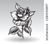 vector tattoo roses with leaves ... | Shutterstock .eps vector #1284535897