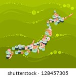 japan   map composed of... | Shutterstock .eps vector #128457305