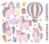 cute unicorn set  little girl... | Shutterstock .eps vector #1284594091