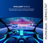 intelligent vehicle cockpit... | Shutterstock .eps vector #1284611767