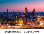 Stock photo amsterdam skyline shortly after sunset the netherlands 128463995